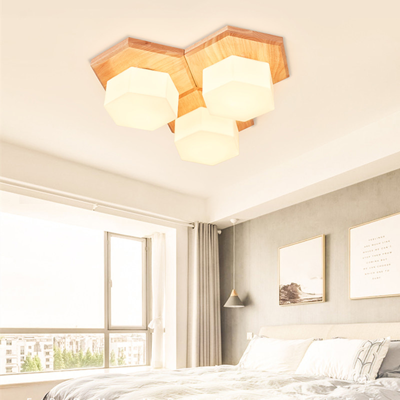 Abajur Simple Wood Nordic Living Room suspension luminaire Bedroom LED Ceiling Lamp Cozy Jigsaw Aisle Balcony LED Ceiling Light modern led ceiling lamp aisle simple living room porch balcony study room long lamp