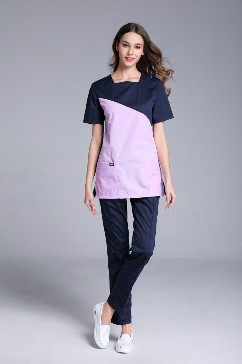 Women's Short Sleeve Shoulder Openable U Shape Neck Surgical Or Medical Scrub Clothes Sets Uniforms Two Color Connection Uniform