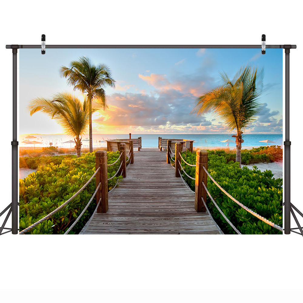 Neoback Summer Holiday Backdrop for Photography Sea Beach Background Plam Tree Sunset Glow Wedding Backdrops for Photo Studio