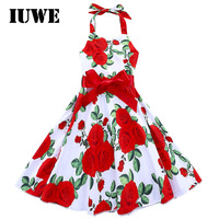 Design Red Roses Big Swing Baby Kids Dresses For Girls Floral Print Teens Clothing Girls Children