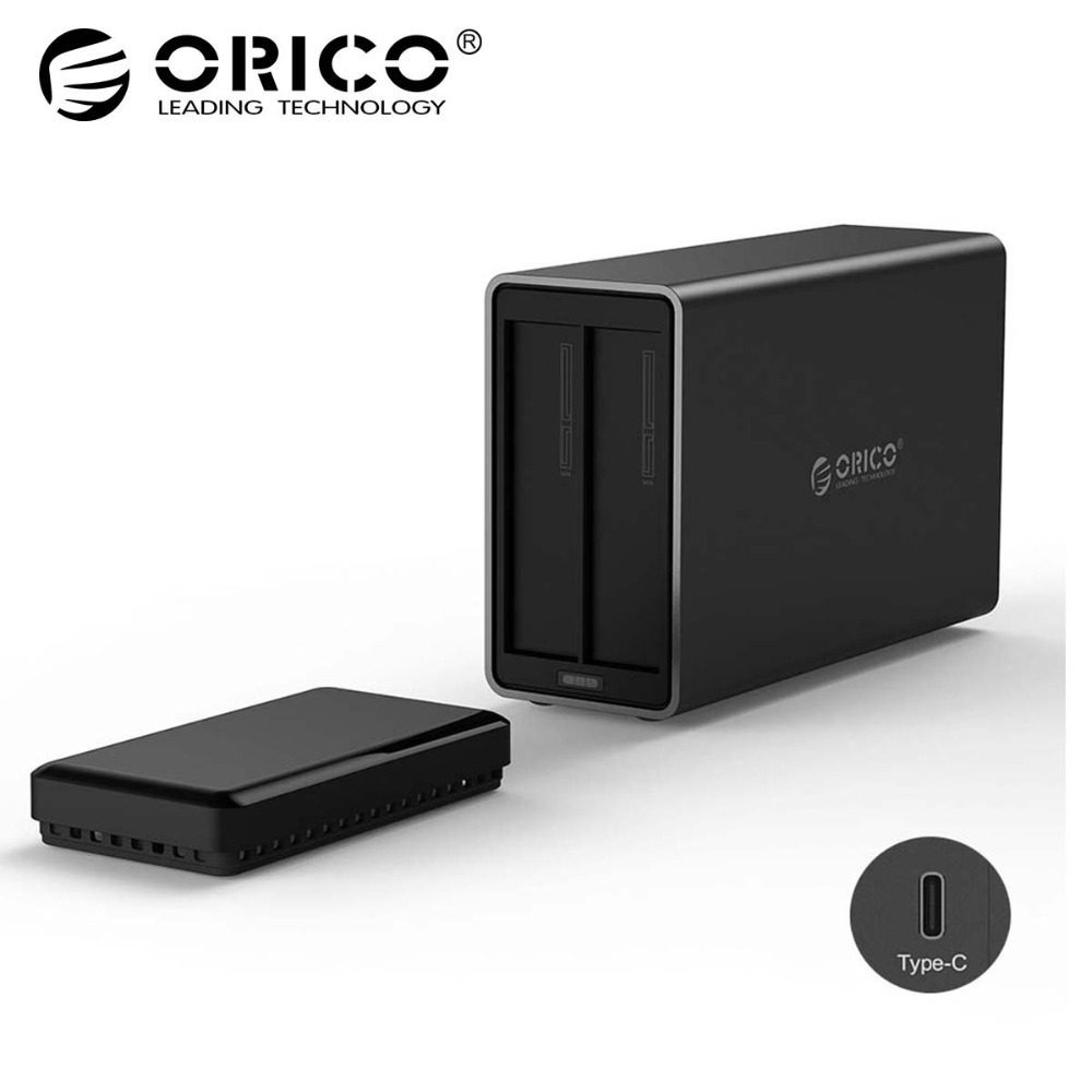 ORICO NS200C3 2 Bay Type-C Hard Drive Dock Support 20TB storage USB3.1 5Gbps UASP with 12V4A Adapter Tool Free HDD Enclosure orico 6518c3 type c hard drive dock 2 5 3 5 inch tool free