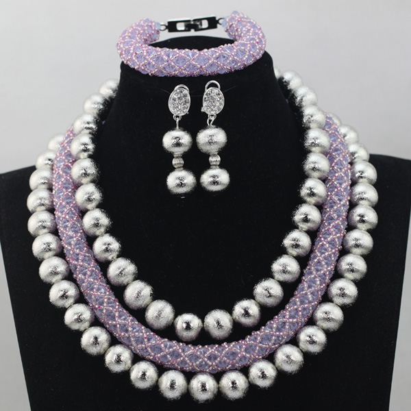 Amazing Purple Crystal Bead Costume African Jewelry Sets Lilac Crystal Nigerian Beaded Necklace Set Free Shipping QW062Amazing Purple Crystal Bead Costume African Jewelry Sets Lilac Crystal Nigerian Beaded Necklace Set Free Shipping QW062