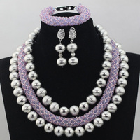 Amazing Purple Crystal Bead Costume African Jewelry Sets Lilac Crystal Nigerian Beaded Necklace Set Free Shipping QW062