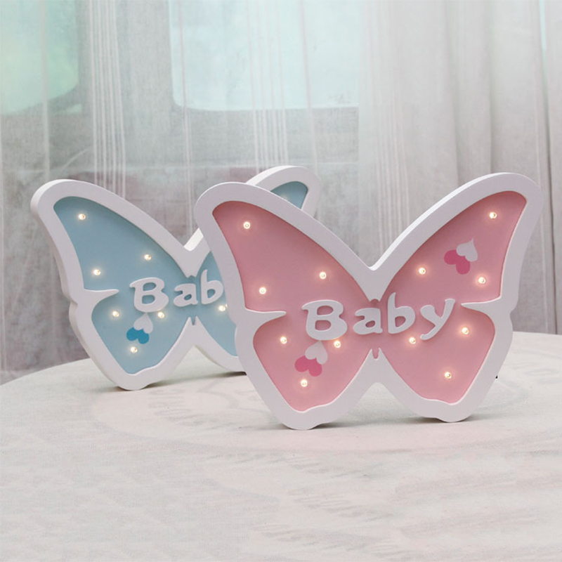 Jiaderui LED Butterfly Baby Night Light Wooden Table Wall Lamp Kids Children Gift Bedside Light Bedroom Living Room Decoration