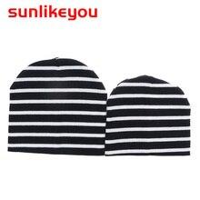 Sunlikeyou Newborn Cap Baby Boy Girls Kids Summer Hats Cotton Black White Stripe Resilient Soft Cute Toddler Beanie Bonnet