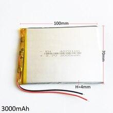 3.7 В 3000 мАч литий-полимерный lipo Перезаряжаемые Батарея Lion клетки для MID 7 дюймов Планшеты портативных ПК Мощность банк 4070100 4*70*100 мм