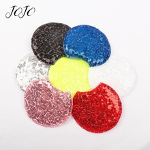 JOJO BOWS Sparkly Sequin Cotton Patches Round Ear Accessories For Needlework DIY Hair Bows Material Headwear Crafts Decoration