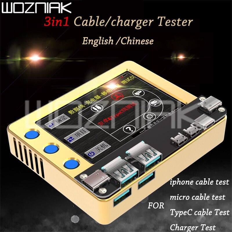 Testador de cabo do carregador do telefone móvel Da Apple Android do teste de linha de dados de carregamento carregador cabo de dados sobre a corrente de detecção