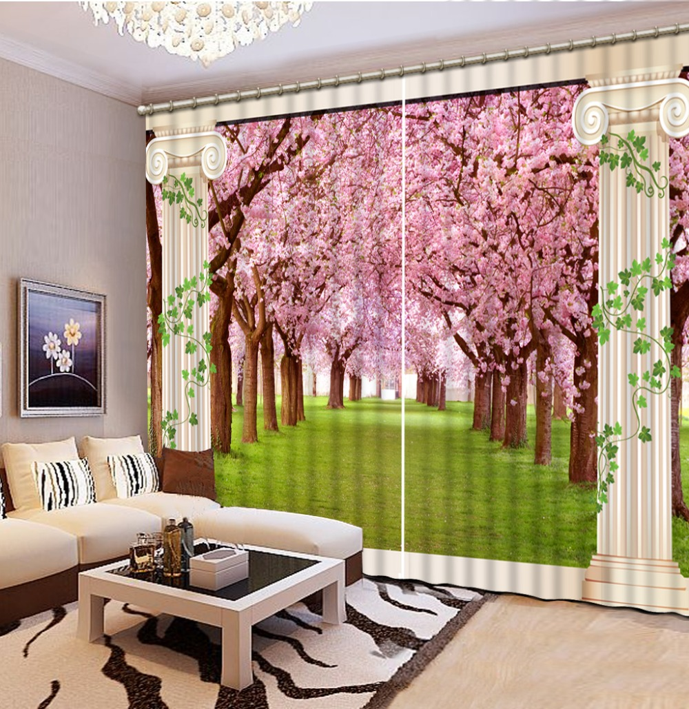 US $69.72 58% OFF|Luxury Curtains For Living Room Curtains beautiful cherry  pillar Curtains photo print 3D Window Curtains-in Curtains from Home & ...