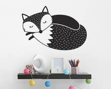 vinyl Art Removable Wall Sticker Sleepy Fox Decoration For Baby Bedroom Cute Animal Wallpaper Foxs Nursery Kids Decals Decor W47