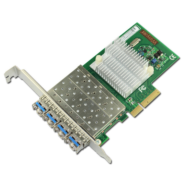 4 Portas Gigabit Fiber Adapter Single Mode 1310nm 10 km LC Óptica Módulo PCI-E X4