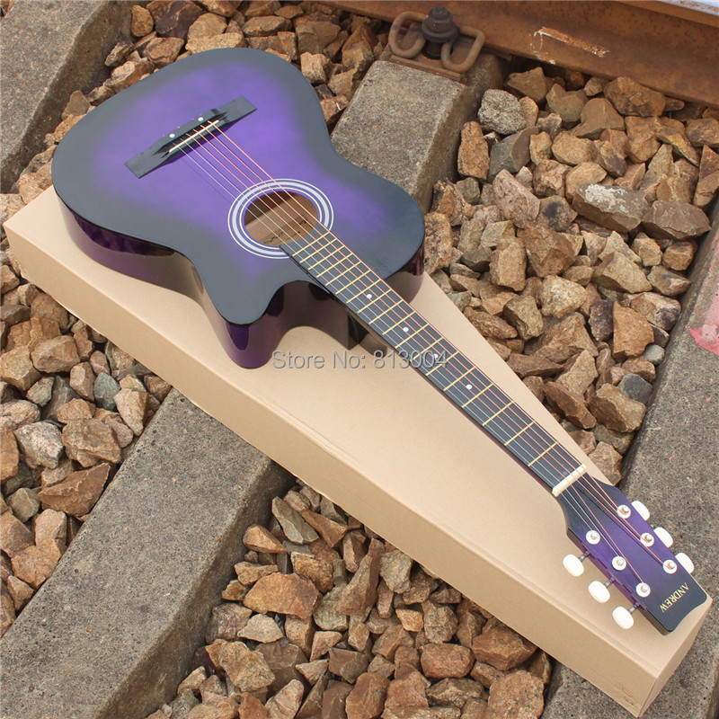 the purple 38 inches folk acoustic guitar length 96 cm basswood brass string guitar on. Black Bedroom Furniture Sets. Home Design Ideas