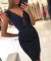 Dark Navy Blue Cocktail Dresses 2019 Appliques Knee Length Formal Club Wear Homecoming Party Gowns Plus Size Custom Made