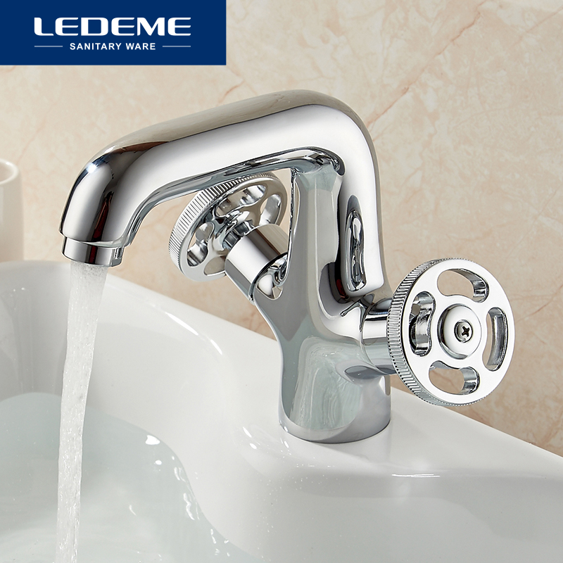 LEDEME Basin Faucet Round Wheel design Dual Holder Brass Vessel Tap Bathroom Faucet Chrome Modern Waterfall