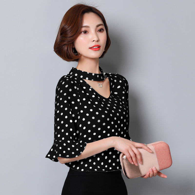 Popular Black White Polka Dot Shirt Blouses-Buy Cheap Black White ...