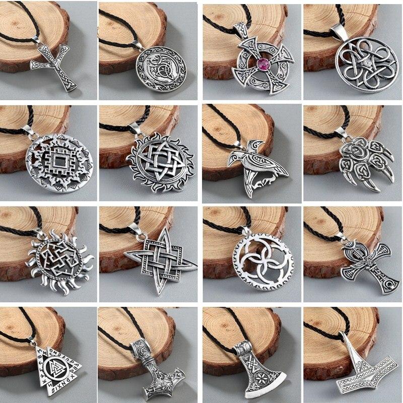 Viking Valknut Pendant Men's Necklace Round Pagan Religious Man Slavic fashion Women Steampunk Jewelry Tibetan Necklace Amulet