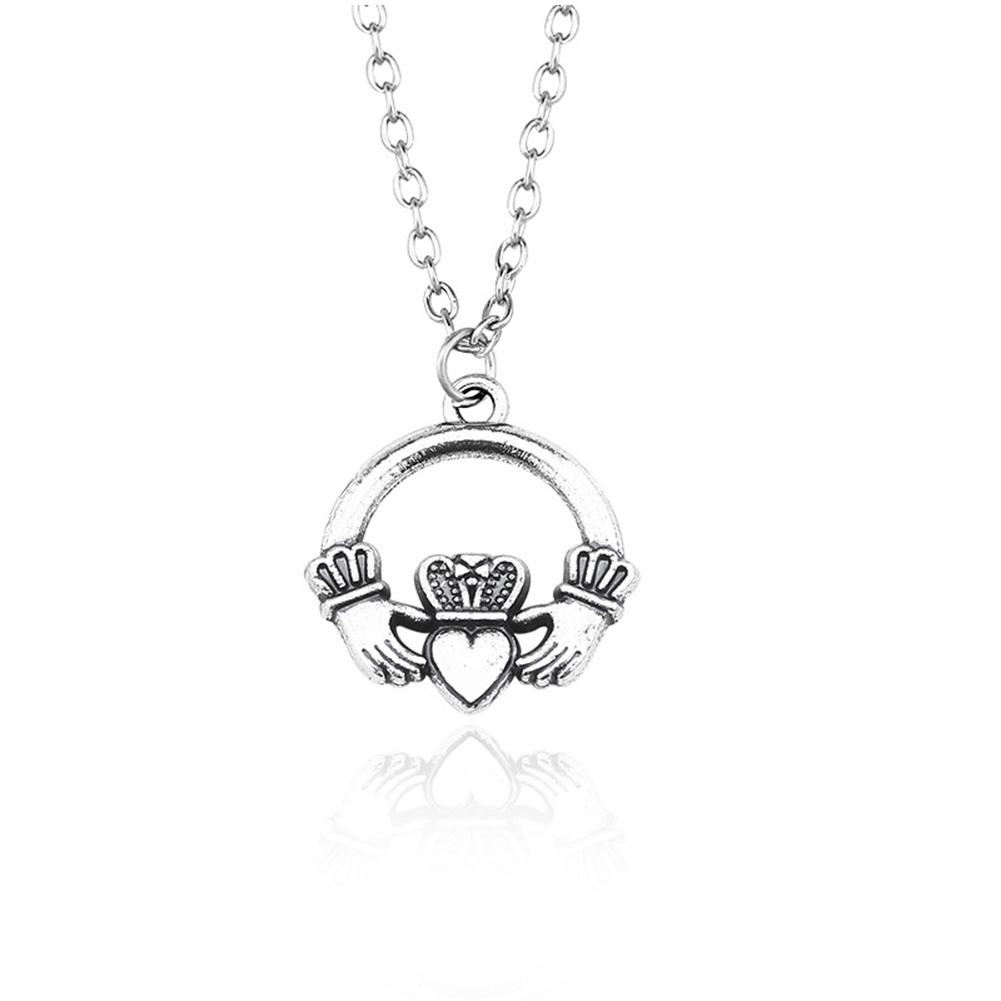 DreamBell Women Silver Color Crown with Hands Holding Heart Pattern Pendant Necklace