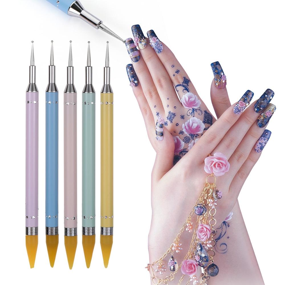Nail Art Tools Simple: 1pcs Wax Picker Rhinestone Dotting Pen Dual Ended Beads