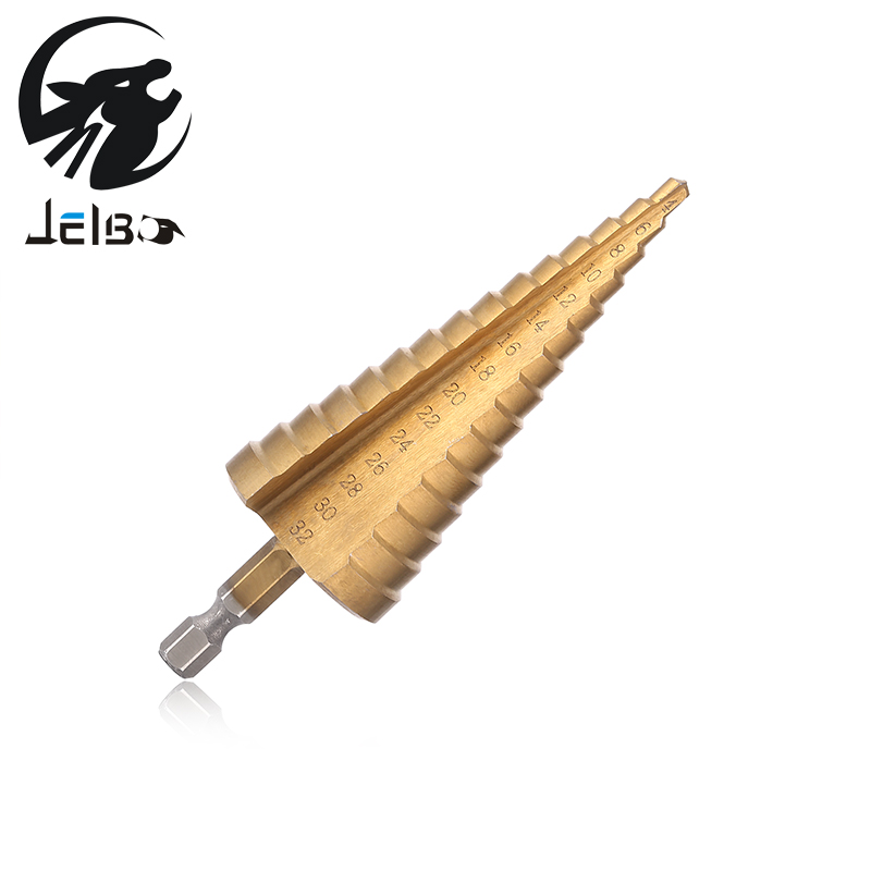 Jelbo 4-32MM HSS Titanium Coated Hex Step Drill Bit for Metal High Speed Steel Cone Power Tools Hole Cutter Wood Drilling 1Pcs 13pcs set hss high speed steel twist drill bit for metal titanium coated drill 1 4 hex shank 1 5 6 5mm power tools accessories