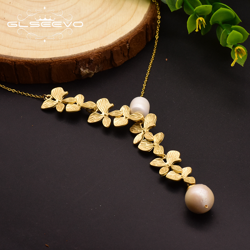 GLSEEVO 925 Sterling Silver Leaf Necklace Natural Fresh Water Pearl Pendant Necklace For Women Wedding Fine Jewelry GN0110