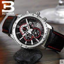 Binger wristwatch men luxury brand watch fashion business leisure alloy casing multi functional design watches free