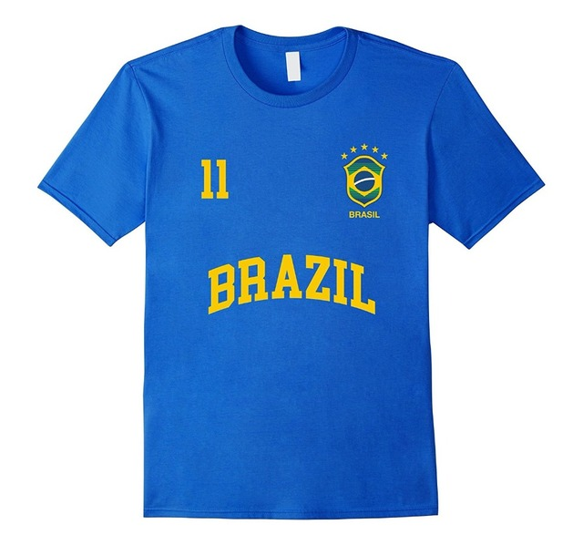 75ad5f63ef 2018 Moda Verão T-Shirt Brasil Número 11 Seleção Brasileira de Futebol  Camisa de Esportes