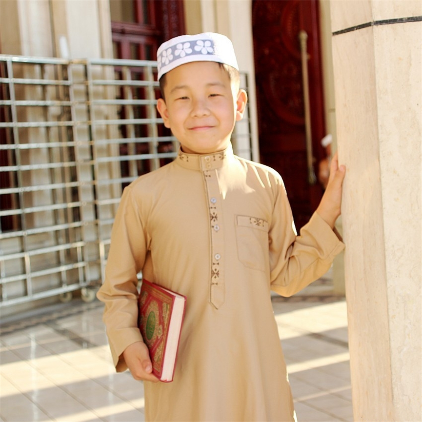 5Color Boys Jubba Thobe Islamic Clothes Arabic Young Men Kaftan Muslim Dress Saudi Arab Dubai 3-14 Years Child Islam Clothing