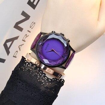 Женские Часы GUOU, роскошные кожаные часы с бриллиантами для девушек, хит продаж, 2019