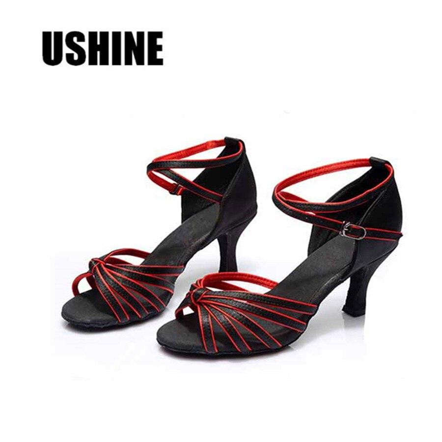 Satin Latin Dance Shoes Woman Ballroom Dancing Shoes Zapatos Salsa Mujer Zapatos De Baile Latino Mujer Free Shipping 801