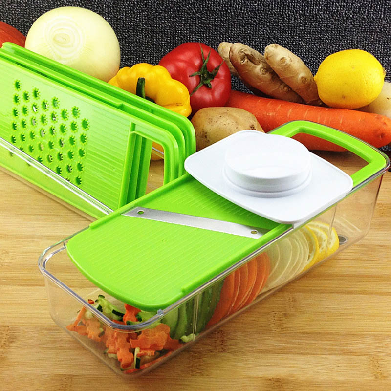 Multifunctional Vegetable Slicer with 4 Interchangeable Silcer -Vegetable Cutter Peeler Slicer Grater Box