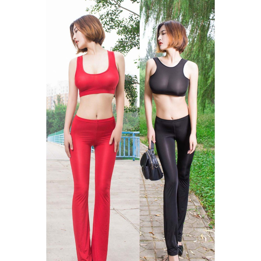 Perspective High Flexibility Thin Nylon Flare   Pants   Womens Exotic Lingerie Erotic   Capris   Women Transparent Legging Hot Sexy   Pant