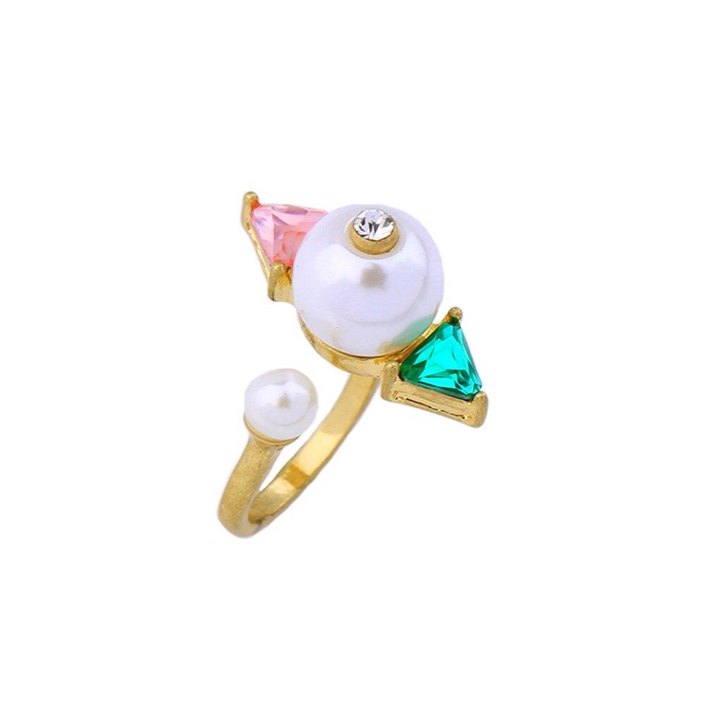 1fe805518971 2017 mujeres de la manera Nueva joyería al por mayor nuevo diseño simulado  perlas anillos abiertos para las mujeres geométrica traje joyería Accesorios