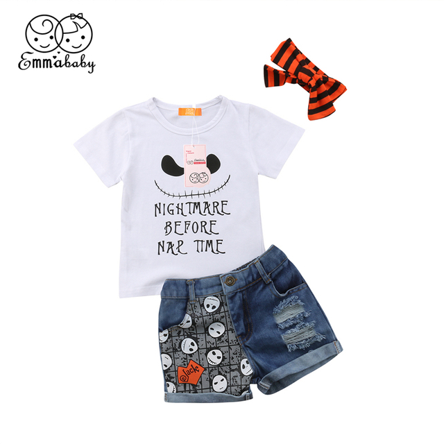 ac8937853c Halloween Baby Girl Clothes Set Toddler Kid Boy Short Sleeve Cotton T-Shirt  Top Ripped Shorts Panties Headband Outfit 3Pcs 1-6T
