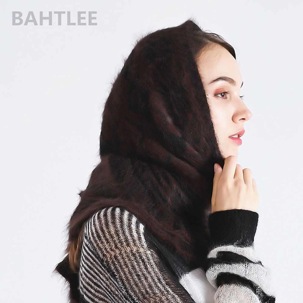 Bahtlee Mùa Đông Phụ Nữ Hồi Giáo Cô Gái Thỏ Angora Băng Đô Cài Tóc Turban Gọng Hijab Đuôi Nơ Tam Giác Khăn Choàng Dệt Kim Khăn Thực Lông Quấn Áo Khoác Mũi