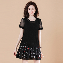 Spring and summer new style Large size loose stitching mesh dress Loose T-shirt top