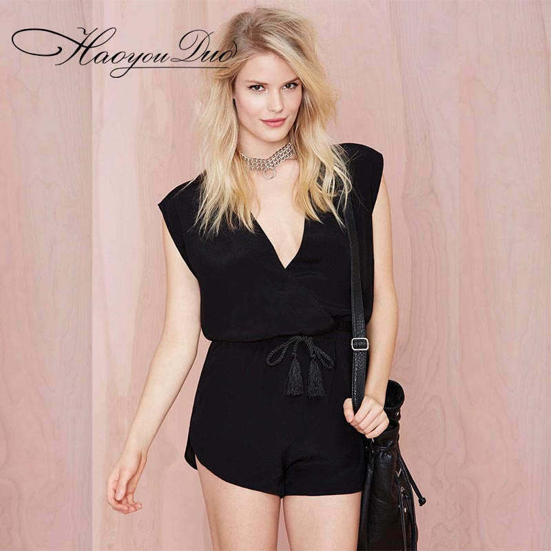 HAOYOUDUO 2017 New Ladies Sleeveless Deep V Neck Summer Jumpsuits Sexy Quality Woman Romper Shorts Playsuit Women Jumpsuit Brand