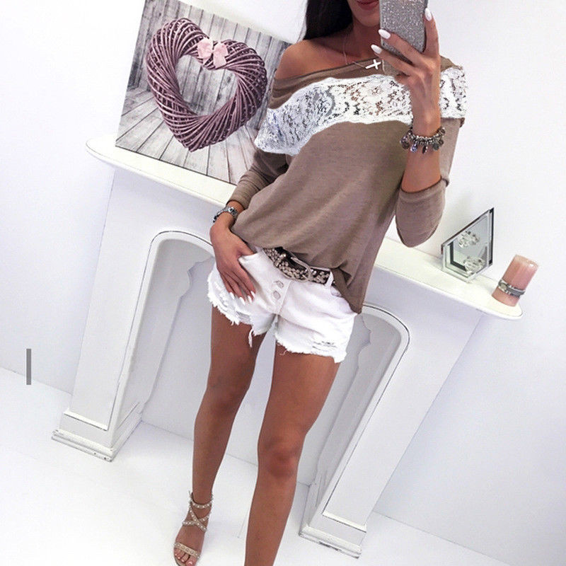 2018 Autumn New Women Clothes Fashion Jumper Pullover Patchwork Long Sleeve Tops T-shirt Casual Lace Long Sleeve Slash Neck Top