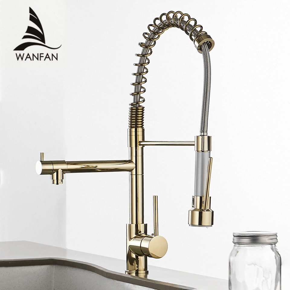 цена на Kitchen Faucets Gold Torneira Para Cozinha Faucet for Kitchen Sink Single Pull Out Spring Spout Mixers Hot Cold Water Tap 866021