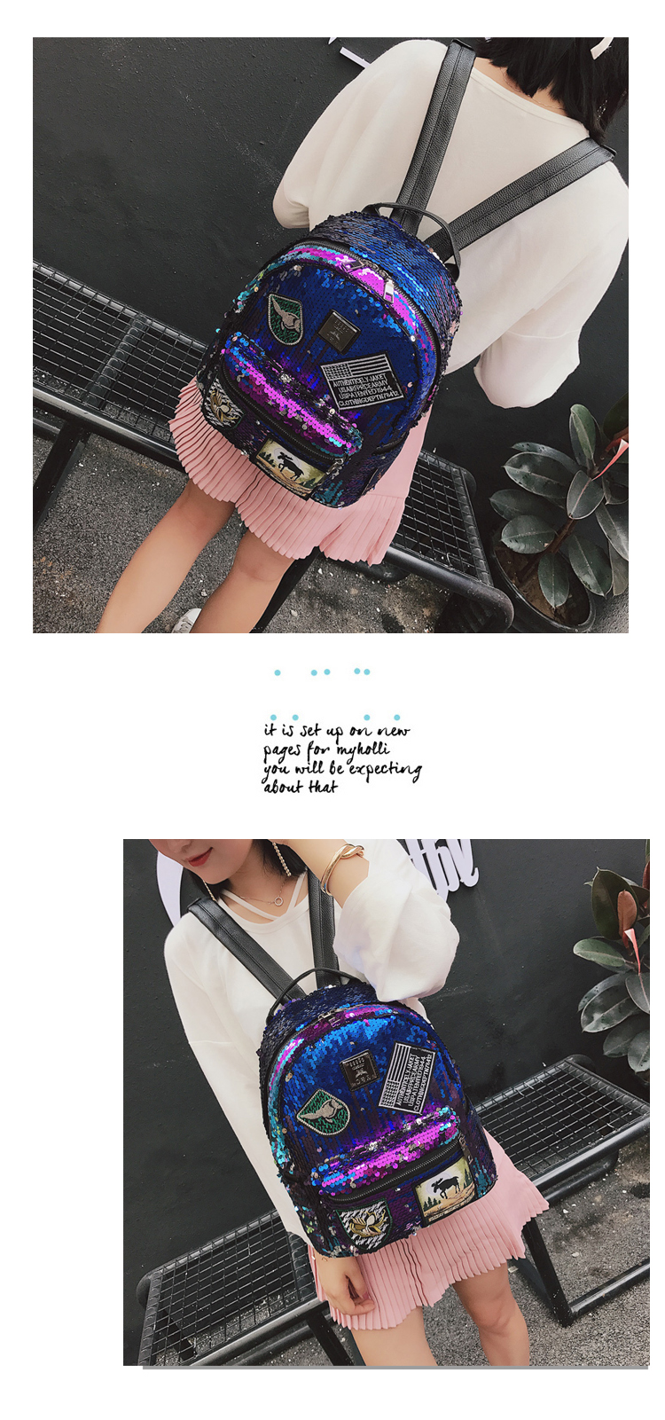 Sequin Backpack Korean version 2018 New Personality Badge Fashion Backpack Wild Casual 7