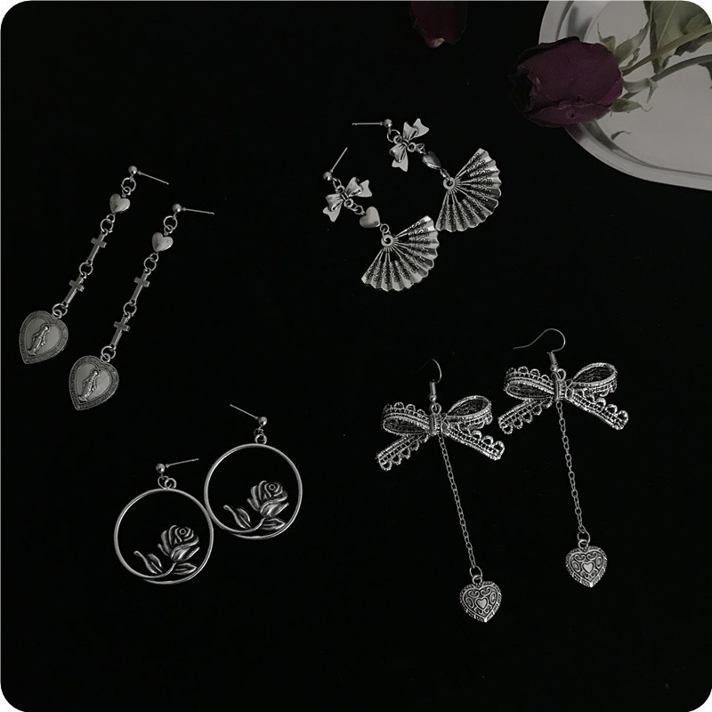 Europe and the United States Harajuku retro love cross lace bow earrings female temperament long pendant earrings For Women in Drop Earrings from Jewelry Accessories