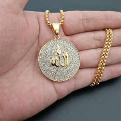 Hip Hop Iced Out Round Allah Pendant Necklace Stainless Steel Islam Muslim Arabic Gold Color Prayer Jewelry Dropshipping