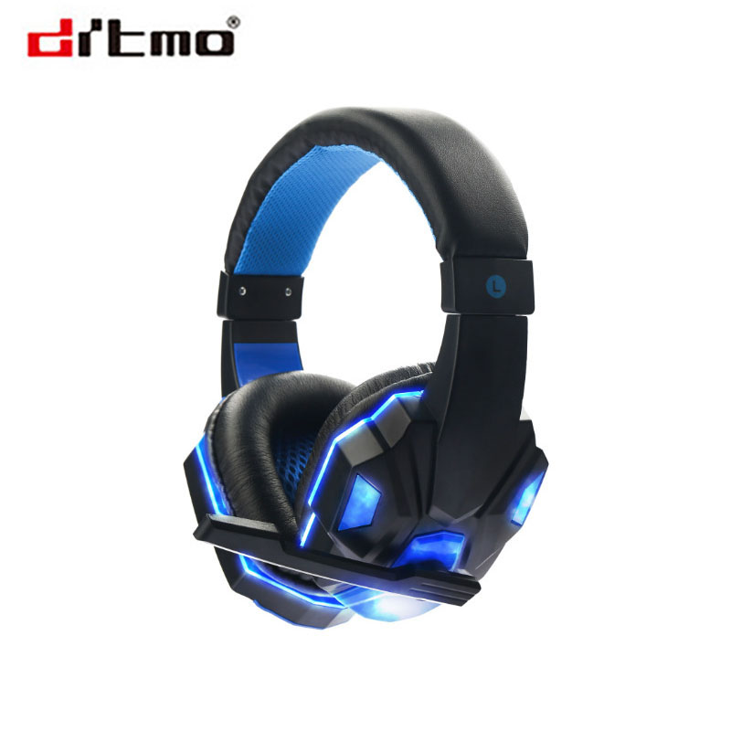 Drtmo Earphone Gaming Headset Gamer PC Headphhone Gamer Stereo Gaming Headphone with microphone Led For Computer g925 high quality gaming headset studio wire earphones computer stereo deep bass over ear headphone with microphone for pc gamer