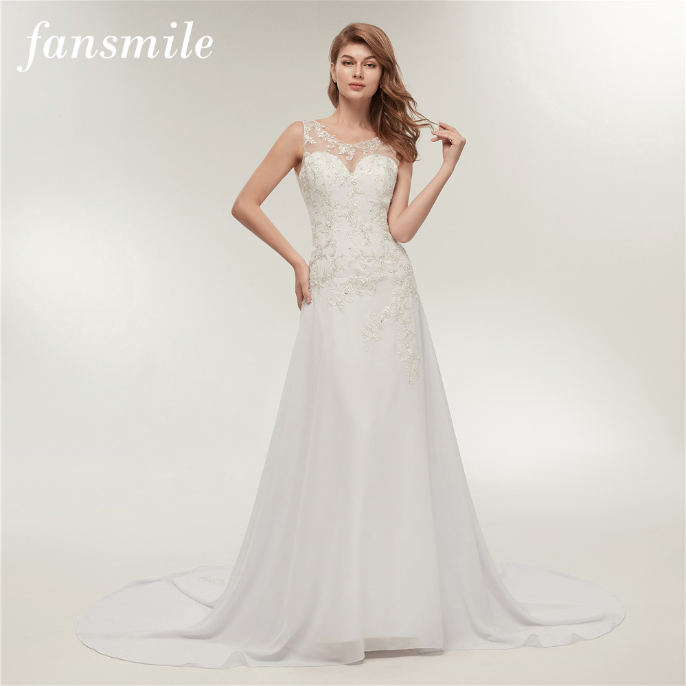 Real Brides Size 12: Fansmile Real Photo Embroidery Chiffon Beach Wedding Dress