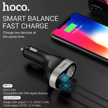 цена на hoco dual usb a cigarette lighter port adapter splitter 12v 24v car lighter charger usb for iphone samsung xiaomi android socket