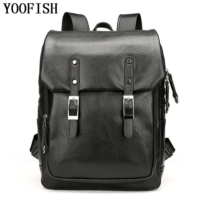 YOOFISH Fashion Genuine Leather men Backpack Women High Quality School Bag Female Travel Laptop bag Student backpack  LJ-908 14 15 15 6 inch flax linen laptop notebook backpack bags case school backpack for travel shopping climbing men women