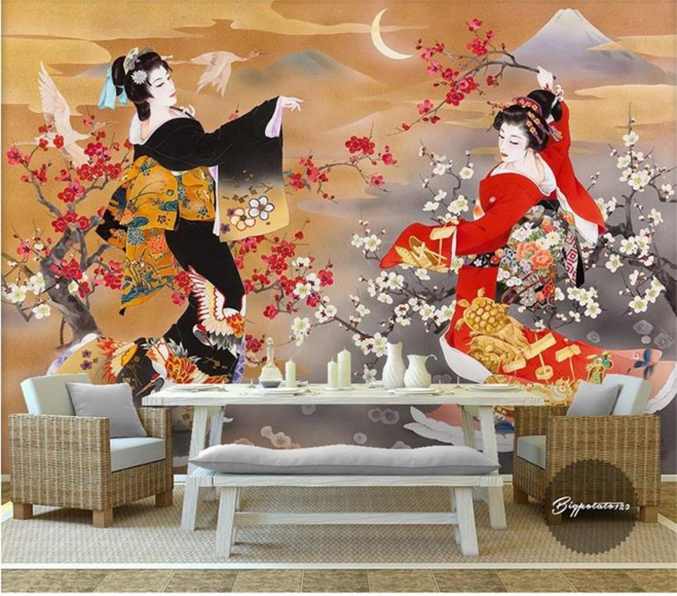 3d Wallpaper Custom Size Photo Mural Living Room Japanese Beauty Oil Painting Sofa TV Background Non-woven Wallpaper For Wall 3d