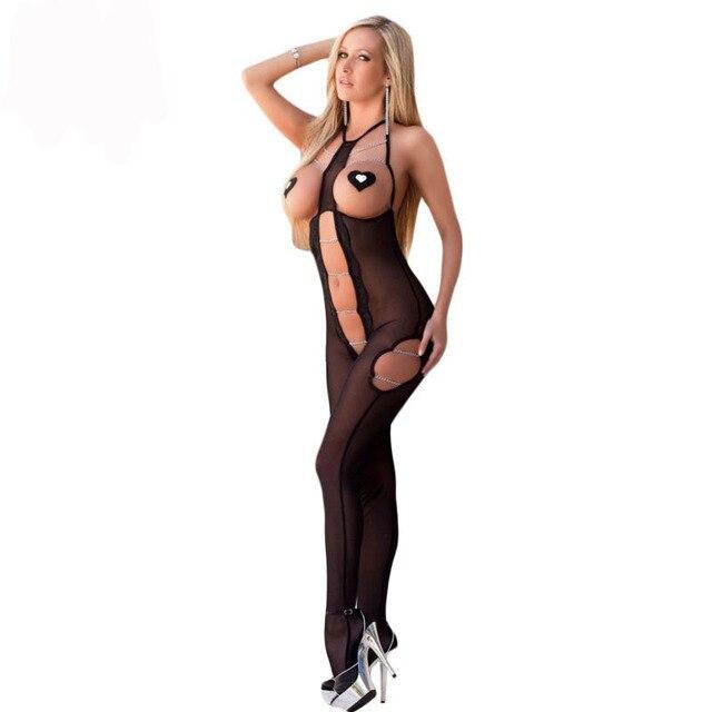 DL3250 Nueva Sexy Mujeres Mono de una pieza ropa de Dormir Bodystocking Sensual Acento de Cadena de Recorte de Malla Transparente Bodystocking sexy