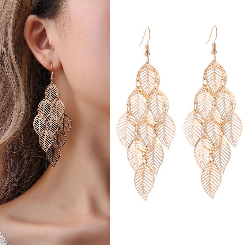 2018 Fashion Vintage Leaf Drop Earrings For Women Gold Color Boho Statement Pendientes Long Pompom Dangle Earrings Jewelry