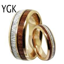 Męska klasyczna biżuteria miłosna Trendy obrączka dla kobiet róża złoty pierścień wolframu meteoryt drewno wkładka pierścionek zaręczynowy