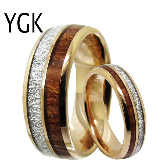 Mens Classic Love Jewelry Trendy Wedding Ring For Women Rose Golden Tungsten Ring Meteorite Wood Inlay Engagement Ring